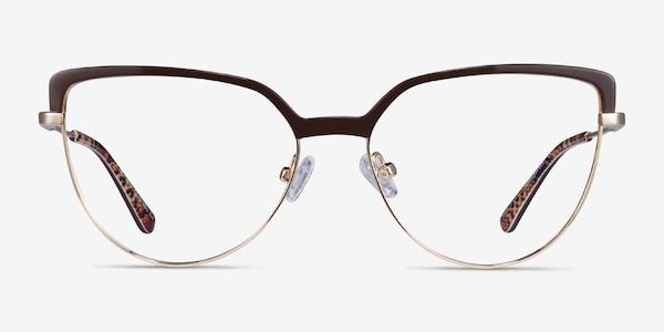 Dona Brown & Gold Acetate-metal Eyeglass Frames