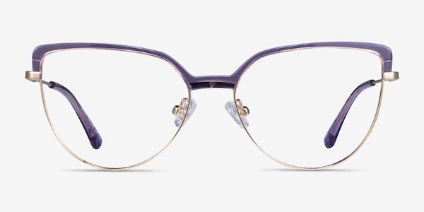 Dona Clear Purple & Gold Acetate-metal Montures de Lunette de vue
