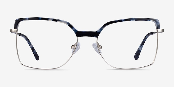 Further Blue Floral & Silver Acetate-metal Eyeglass Frames