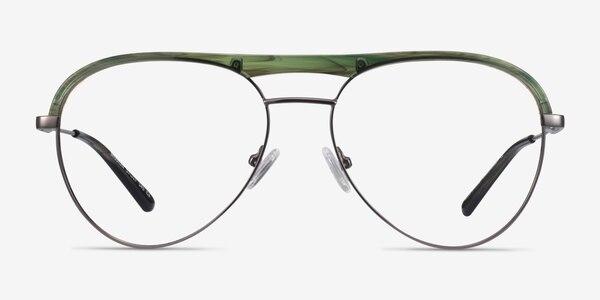 Mission Green Striped & Gunmetal Acetate-metal Eyeglass Frames