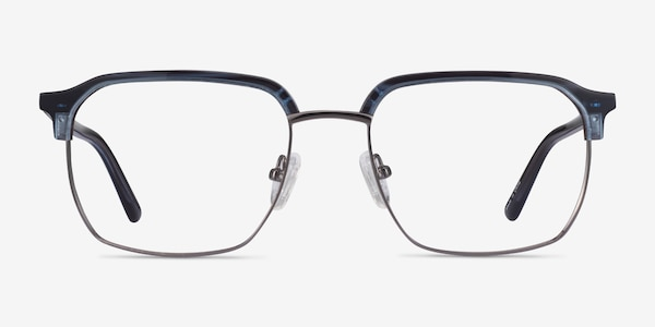 Break Blue Striped & Gunmetal Acetate-metal Montures de Lunette de vue