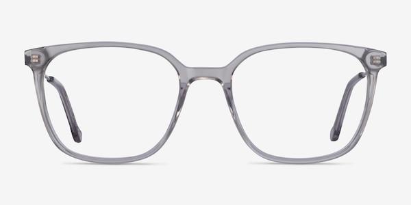 Confident Clear Gray Silver Acetate Eyeglass Frames