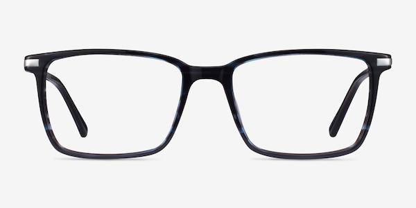 Button Striped Blue Acetate Eyeglass Frames