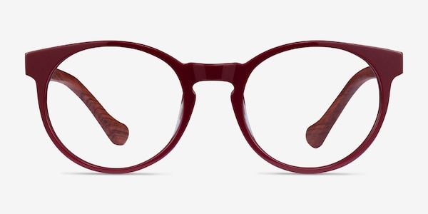 Everglades Red & Red Wood Wood-texture Eyeglass Frames