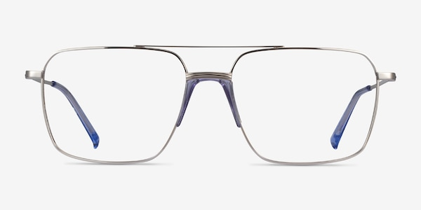 Matt Silver Blue Acetate Eyeglass Frames
