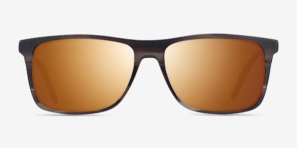 Catch Matte Striped Brown Acétate Soleil de Lunette de vue