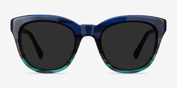 Tropic Blue Striped Acetate Sunglass Frames