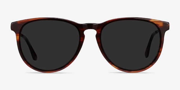 Sun Ultraviolet Brown Striped Acetate-metal Sunglass Frames