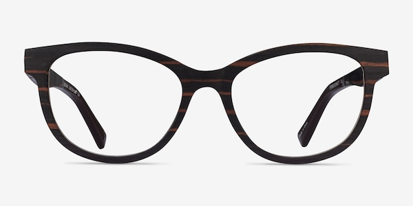 Botany Striped Dark Wood Wood-texture Eyeglass Frames