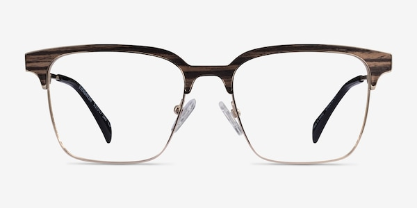 Evergreen Gold & Striped Woord Wood-texture Eyeglass Frames