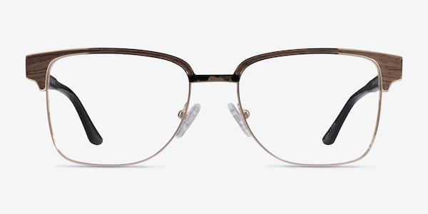 Biome Gold, Black & Dark Wood Acétate Montures de lunettes de vue