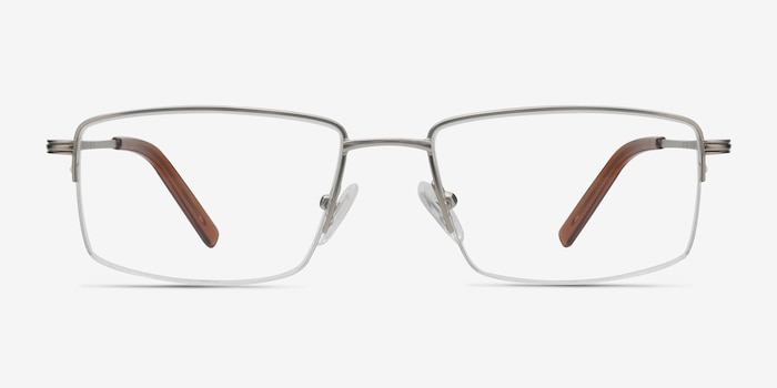 System Silver Metal Eyeglass Frames from EyeBuyDirect, Front View