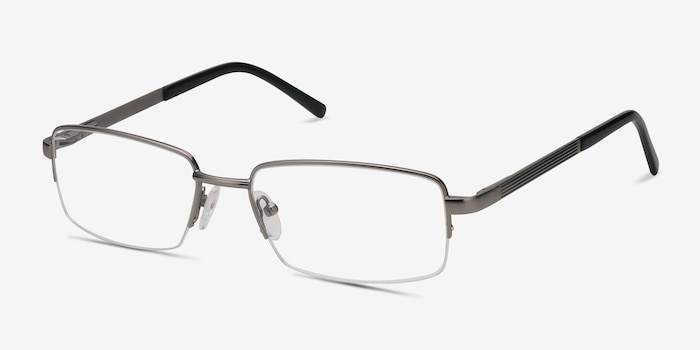 Axis Gunmetal Metal Eyeglass Frames from EyeBuyDirect, Angle View