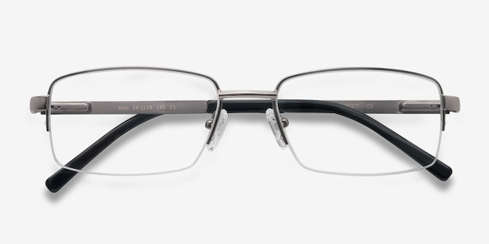 Axis Gunmetal Metal Eyeglass Frames from EyeBuyDirect, Closed View