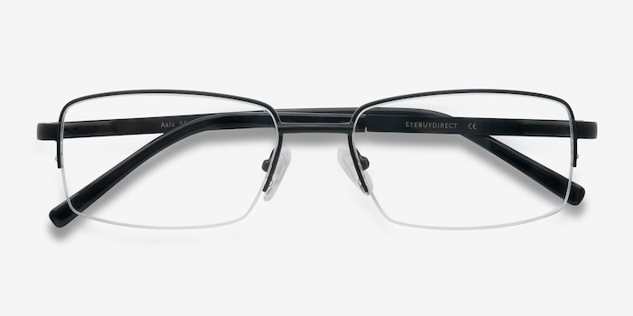 Axis Black Metal Eyeglass Frames from EyeBuyDirect, Closed View