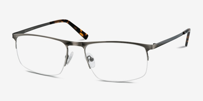 Wayne Gunmetal Silver Metal Eyeglass Frames from EyeBuyDirect, Angle View