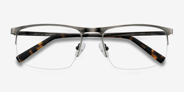Wayne Gunmetal Silver Metal Eyeglass Frames from EyeBuyDirect, Closed View