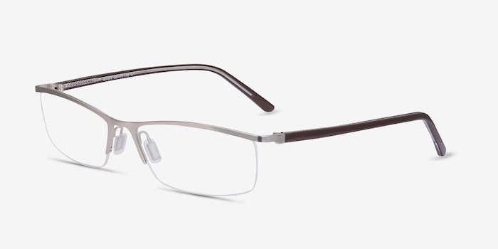 Boon Silver Metal Eyeglass Frames from EyeBuyDirect, Angle View