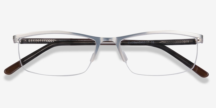 Boon Silver Metal Eyeglass Frames from EyeBuyDirect, Closed View