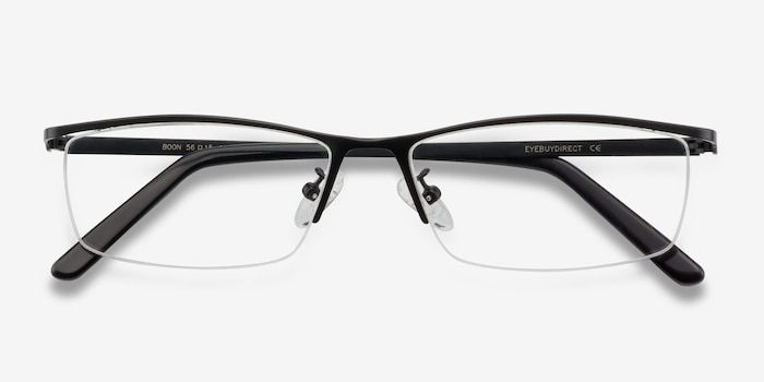 Boon Black Metal Eyeglass Frames from EyeBuyDirect, Closed View