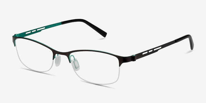 Pearl Black Metal Eyeglass Frames from EyeBuyDirect, Angle View
