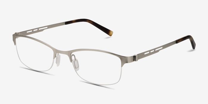 Pearl Silver Metal Eyeglass Frames from EyeBuyDirect, Angle View