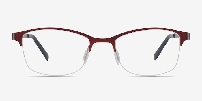 Pearl Red Metal Eyeglass Frames from EyeBuyDirect, Front View