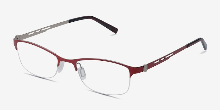 Pearl Red Metal Eyeglass Frames from EyeBuyDirect, Angle View