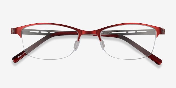 Pearl Red Metal Eyeglass Frames from EyeBuyDirect, Closed View