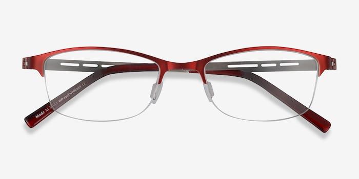 Pearl Rouge Métal Montures de Lunettes d'EyeBuyDirect, Vue Rapprochée
