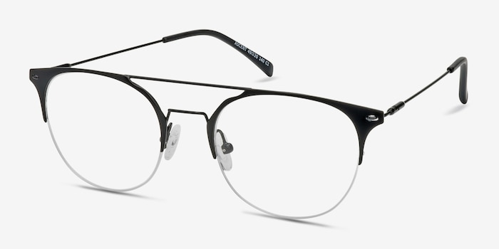 Ascent Black Metal Eyeglass Frames from EyeBuyDirect, Angle View