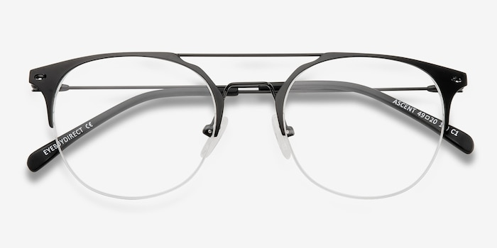 Ascent Black Metal Eyeglass Frames from EyeBuyDirect, Closed View