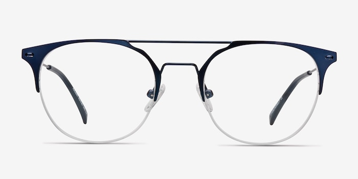 Ascent Navy Metal Eyeglass Frames from EyeBuyDirect, Front View