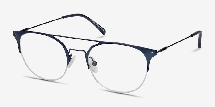 Ascent Navy Metal Eyeglass Frames from EyeBuyDirect, Angle View