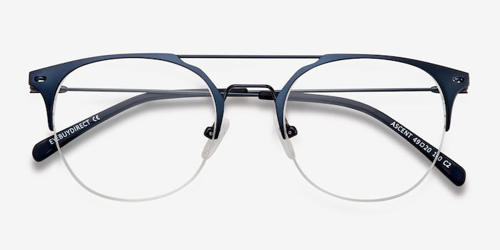Ascent Navy Metal Eyeglass Frames from EyeBuyDirect, Closed View