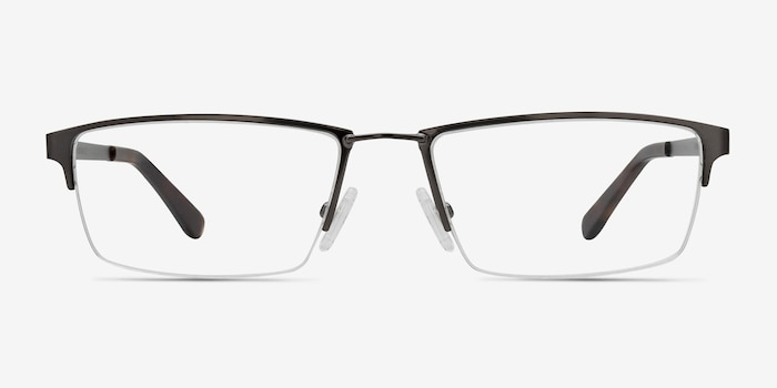 Bowler Gunmetal Metal Eyeglass Frames from EyeBuyDirect, Front View