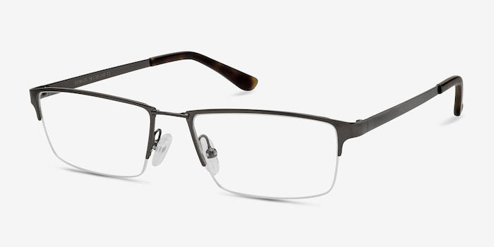 Bowler Gunmetal Metal Eyeglass Frames from EyeBuyDirect, Angle View
