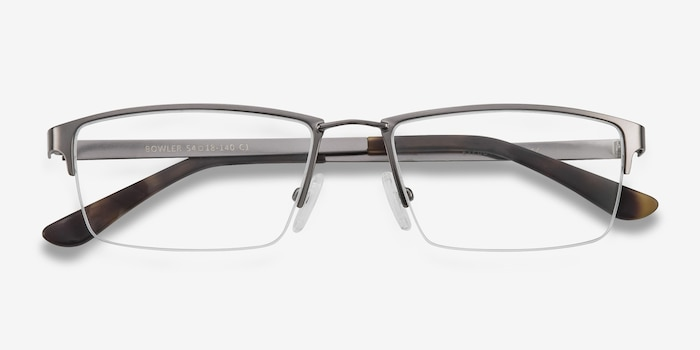 Bowler Gunmetal Metal Eyeglass Frames from EyeBuyDirect, Closed View