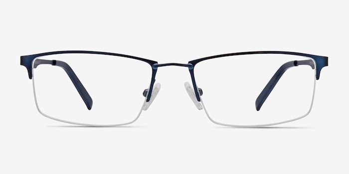 Furox Navy Metal Eyeglass Frames from EyeBuyDirect, Front View