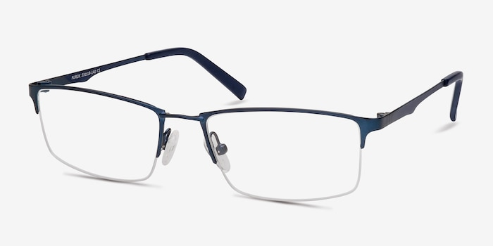 Furox Navy Metal Eyeglass Frames from EyeBuyDirect, Angle View