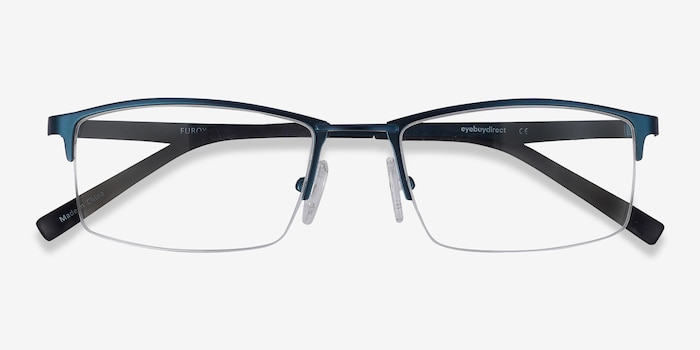 Furox Navy Metal Eyeglass Frames from EyeBuyDirect, Closed View