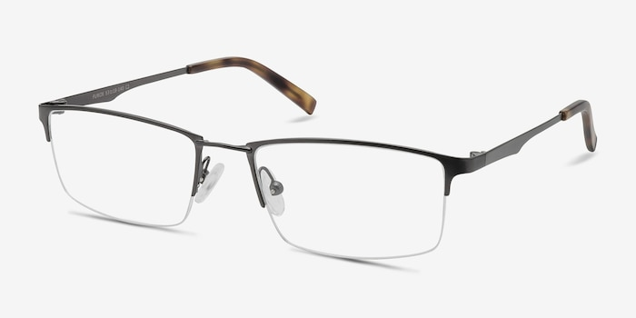 Furox Gunmetal Metal Eyeglass Frames from EyeBuyDirect, Angle View
