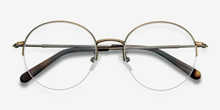 Albee Bronze Metal Eyeglass Frames from EyeBuyDirect, Closed View