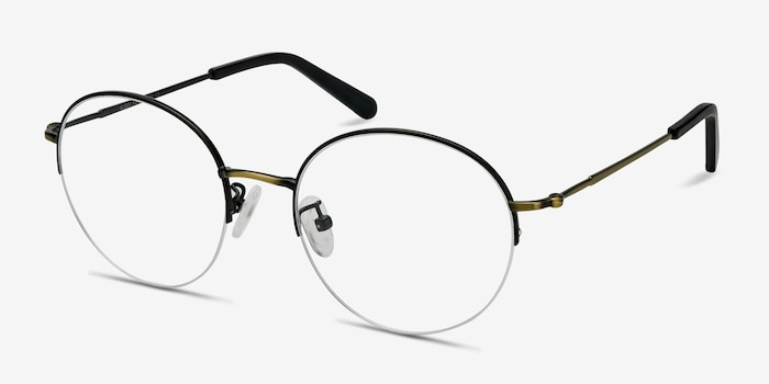 Albee Black Bronze Metal Eyeglass Frames from EyeBuyDirect, Angle View
