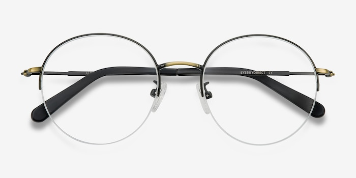 Albee Black Bronze Metal Eyeglass Frames from EyeBuyDirect, Closed View