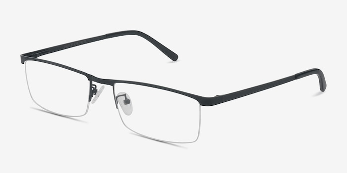 Chute Black Metal Eyeglass Frames from EyeBuyDirect, Angle View