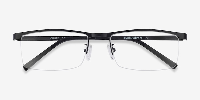 Chute Black Metal Eyeglass Frames from EyeBuyDirect, Closed View
