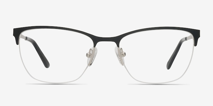 Lille Black Metal Eyeglass Frames from EyeBuyDirect, Front View