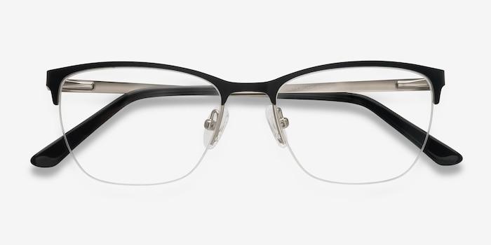 Lille Black Metal Eyeglass Frames from EyeBuyDirect, Closed View
