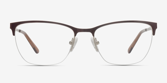 Lille Brown Metal Eyeglass Frames from EyeBuyDirect, Front View